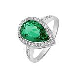 Кольцо в белом золоте Каролина с зеленым кварцем и фианитами