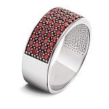 Серебряное кольцо с красными фианитами Радуга