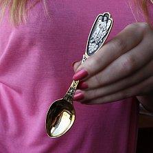 Чайная ложка Ангел Хранитель с позолотой и чернением