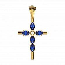 Золотой крестик Глубина любви с сапфирами и бриллиантами