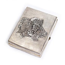 Серебряный портсигар с позолотой 000004797