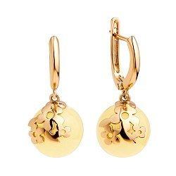 Серебряные серьги-подвески в позолоте, с цветочками и лимонным янтарем 000099720