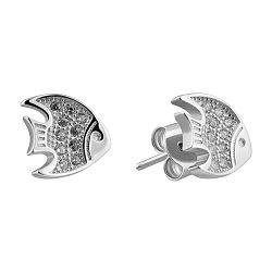 Срібні сережки з фіанітами 000132422