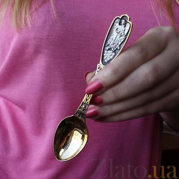 Чайная ложка Ангел Хранитель с позолотой и чернением HUF--7522-ЗЧ