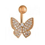 Пирсинг в красном золоте Парящая бабочка с фианитами