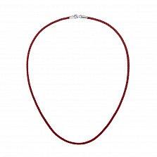 Красный крученый шелковый шнурок на шею Рэд лайн с серебряной застежкой