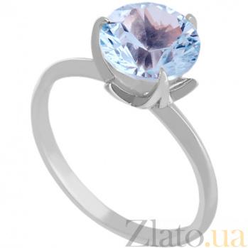 Золотое кольцо Азиза в белом цвете с голубым топазом