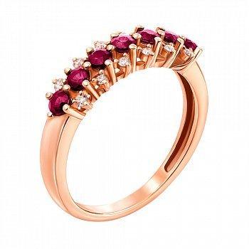 Кольцо из красного золота с рубинами и бриллиантами 000146948