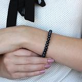 Серебряный браслет Стайлинг с черным жемчугом