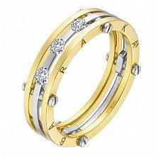 Золотое обручальное кольцо Счастливый союз с бриллиантами в стиле Барака