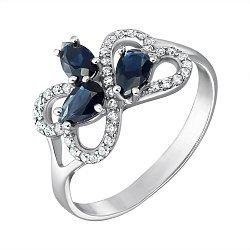 Серебряное кольцо Агния с синтезированным сапфиром и фианитами