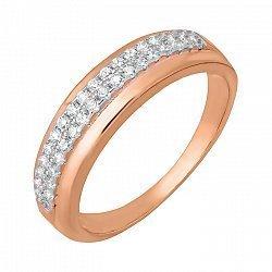 Серебряное кольцо с фианитами и позолотой 000039609