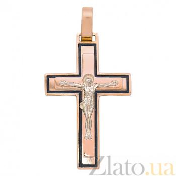 Крестик из красного золота Свет Веры HUF--189-Н