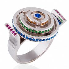 Эксклюзивное кольцо Лабиринт с сапфирами, рубинами и изумрудами