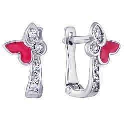 Серебряные серьги с красной эмалью и фианитами 000118163
