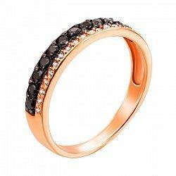 Кольцо из красного золота с черными и белыми фианитами 000000253