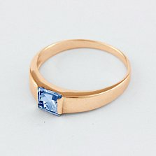 Золотое кольцо с голубым топазом Аделина
