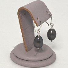 Серебряный серьги Валентайн с овалами черного жемчуга