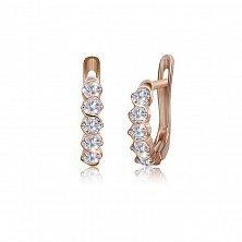 Позолоченные серебряные серьги с цирконием Эндже