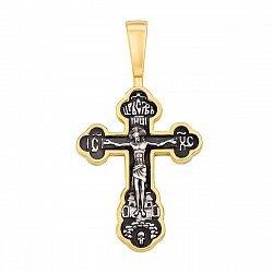Серебряный крестик с позолотой и чернением 000122543