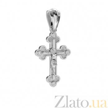 Крестик из белого золота Сила веры с бриллиантами VLA--30039