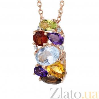 Золотой кулон с аметистом, цитрином, перидотом, бриллиантами, голубым и дымчатым топазом Марта 000037324