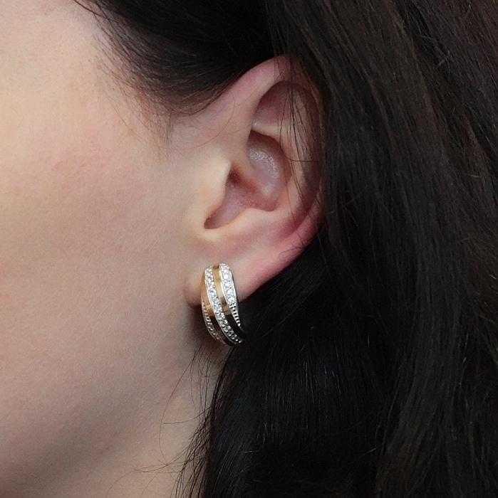 Серебряные серьги с золотой вставкой и фианитами Алея BGS--460с