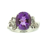 Серебряное кольцо с бриллиантами и аметистом Мара