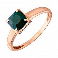 Кольцо из красного золота Айла с зеленым агатом и фианитами