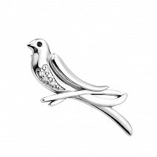 Серебряная брошка Птичка певчая с черным и белым цирконием