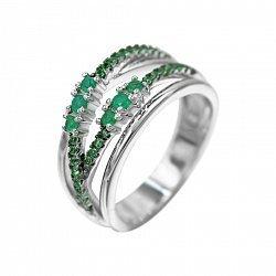 Серебряное кольцо с халцедоном и зелеными фианитами 000081642