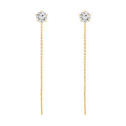 Золотые серьги-протяжки Лучи солнца в желтом цвете с фианитами в 5 крапанах