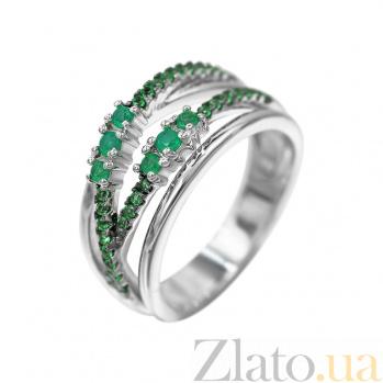 Серебряное кольцо Музыка лета с халцедоном и зелеными фианитами 000081642