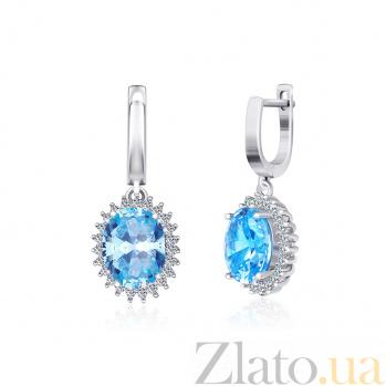 Серьги из серебра с голубыми фианитами Каролин SLX--СК2ФТ/377