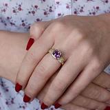 Золотое кольцо Императрица с аметистом и хризолитом