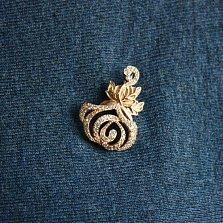 Золотая брошка Роза с фианитами