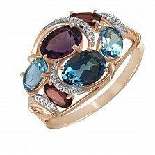 Кольцо из красного золота Самарканд с топазами, аметистами, бриллиантами и родолитами