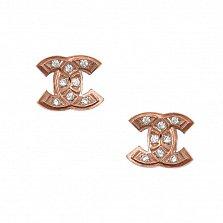 Серебряные позолоченные пуссеты Знак с фианитами в стиле Шанель