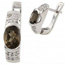 Серебряные серьги Фатима с раухтопазом и фианитами