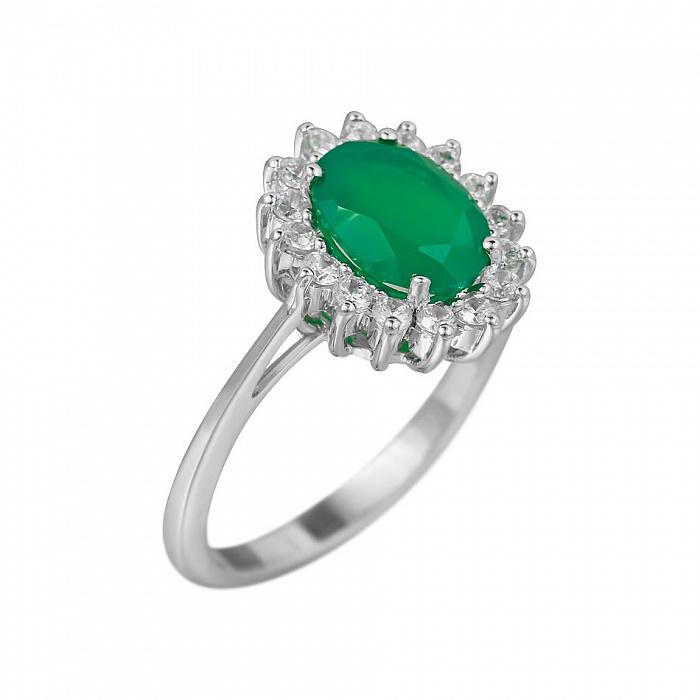 Серебряное кольцо Пелагея с зеленым агатом и фианитами 000081573