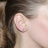 Серебряные серьги-пуссеты Фея с синим цирконием
