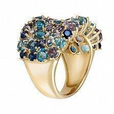 Золотое кольцо с иолитами, сапфирами, топазами и бриллиантами Васильковое поле