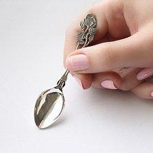 Серебряная кофейная ложка Роза с чернением