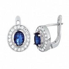 Серебряные серьги с синими фианитами Вистилия