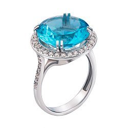 Серебряное кольцо с кварцем и фианитами 000134391