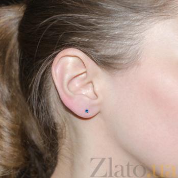 Серебряные серьги-пуссеты Фея с синим цирконием AUR--72305с