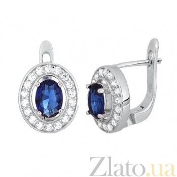 Серебряные серьги с синими фианитами Вистилия SLX--СК2ФС/482