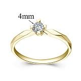 Помолвочное кольцо из желтого золота с бриллиантом Моя принцесса, 4мм