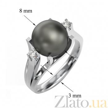 Кольцо из белого золота Канны с черным жемчугом и бриллиантами VLA--12229