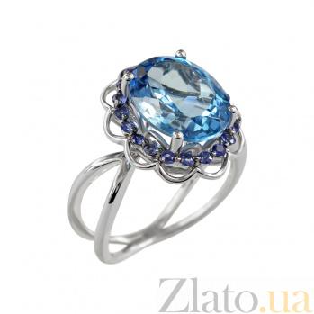 Золотое кольцо с топазом и сапфирами Гармония 000026917